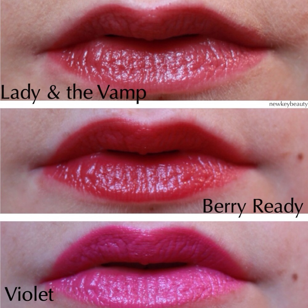 wet n wild lady and the vamp, maybelline color whispers berry ready, bite beauty violet