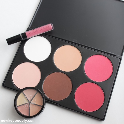 bh cosmetics liquid lipstick, blush and contor kit, studio pro concealer